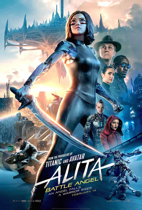 poster oficial de alita angel de combate, alita battle angel, robert rodriguez, james cameron